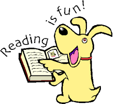 Dog reading book, Reading is Fun, clipart.