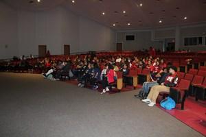 Manor High School crowd supporting Hazel.