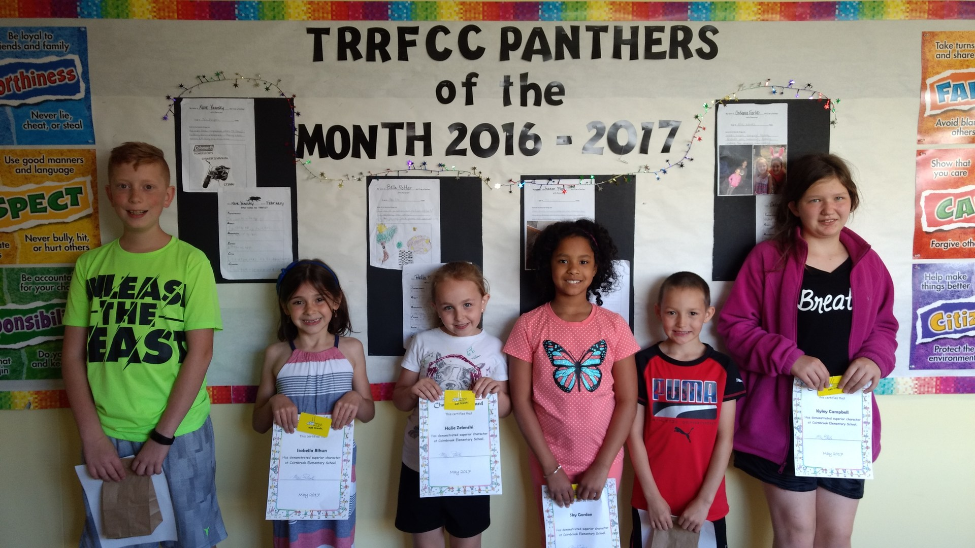 Character Education Winners for April and May of 2018.