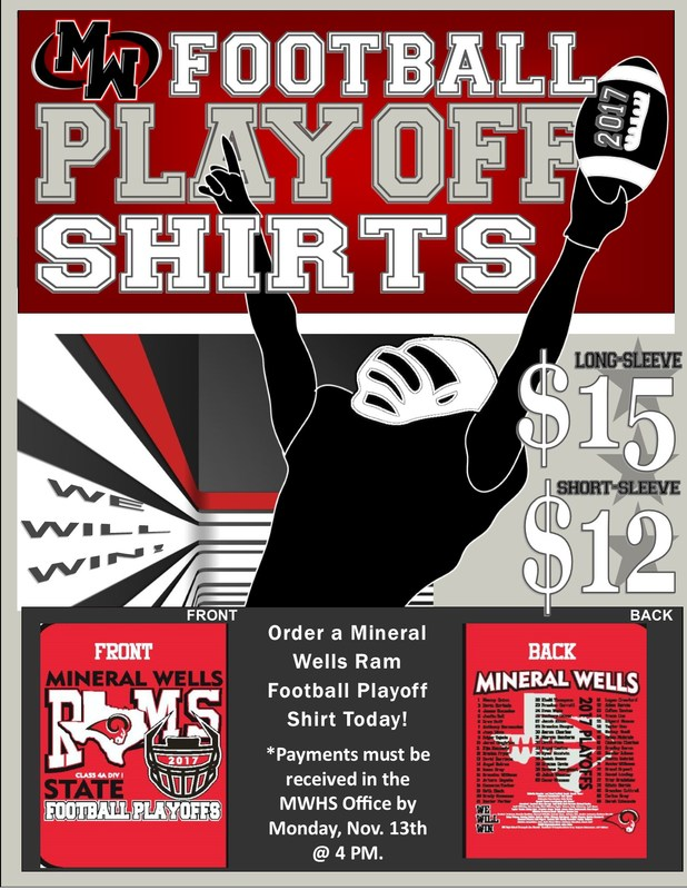 Rams Football Playoff Shirts now on sale for $12 (short sleeve) $15 ( long sleeve).