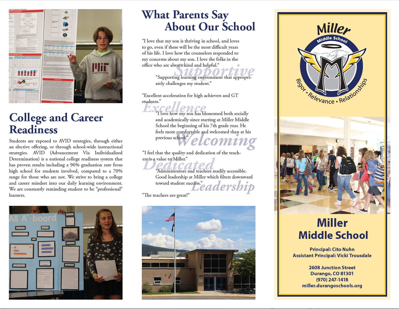 Screenshot of the outside of the Miller Middle School brochure.