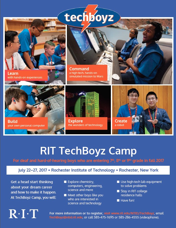 TechBoyz flyer from RIT. Consists of photos of boys participating in various technology related activities. Click for more information.