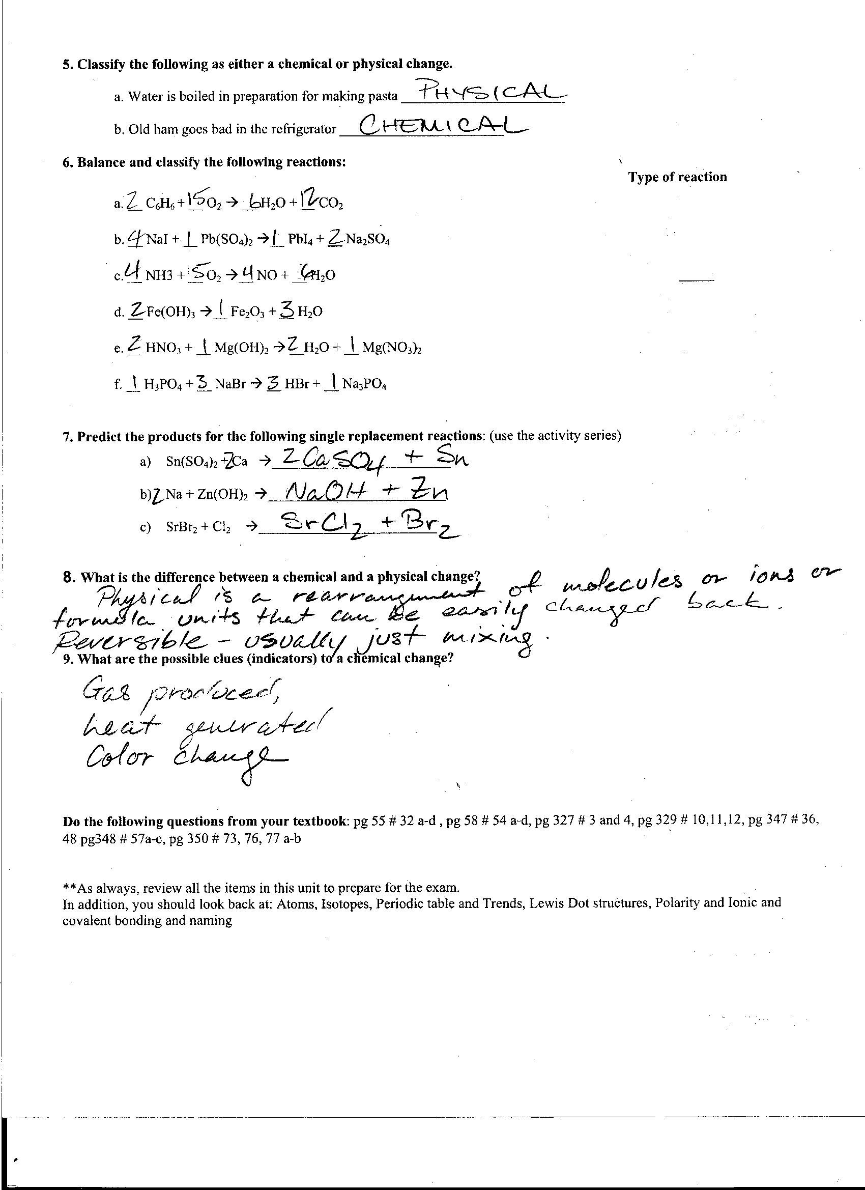 Foothill High School – Classifying Reactions Worksheet