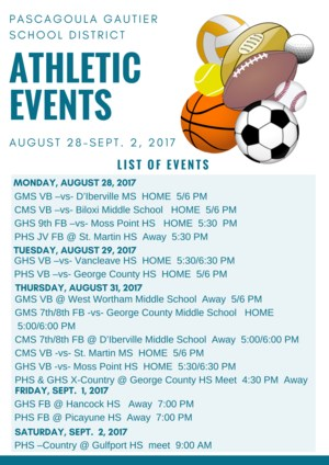 Athletic Events week of Aug 28