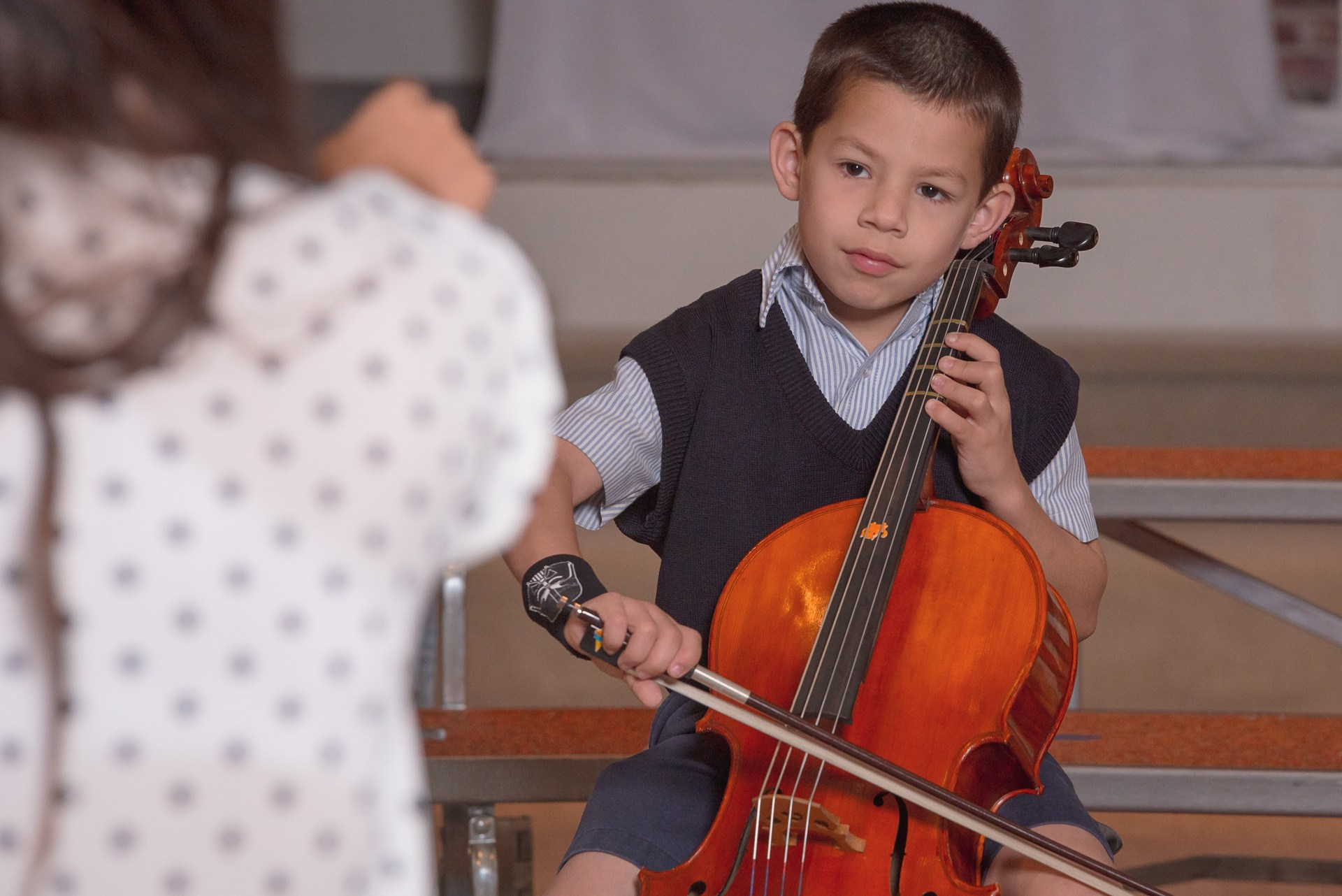 Student on cello