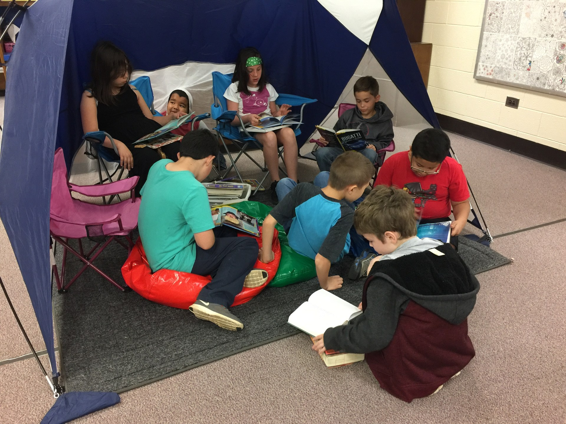 It's fun to read in the reading tent.