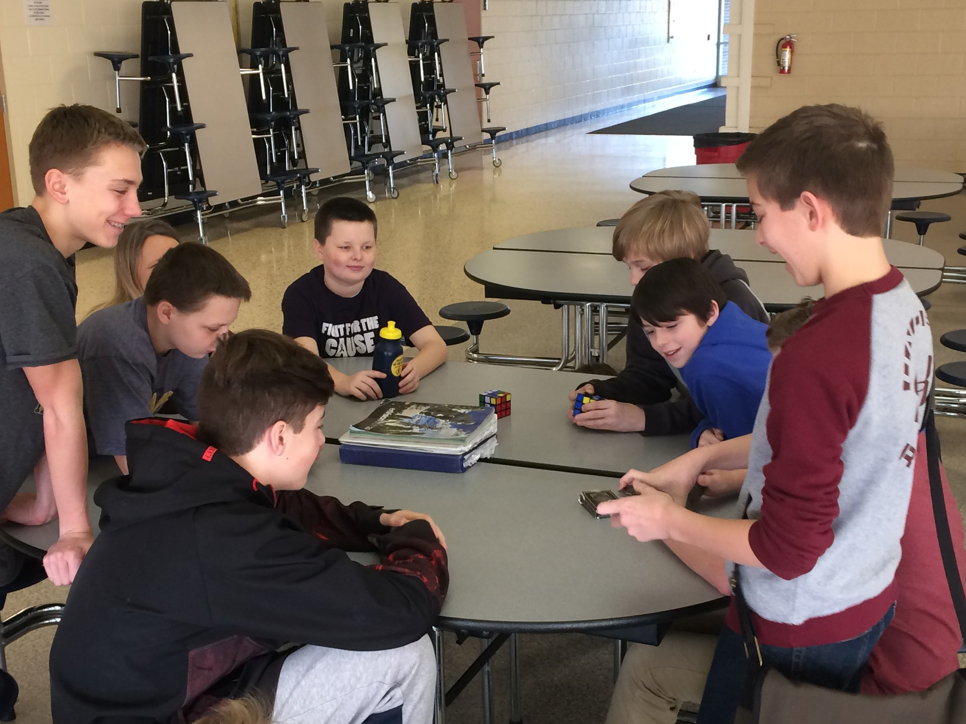 Students take part in an enrichment activity of learning Rubik's cube strategies during WIN time.
