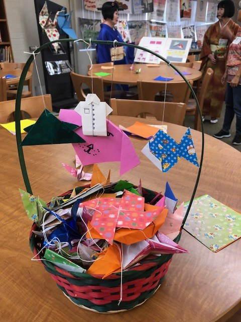 basket of free folded art for students