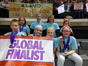Alamo's Destintation Imagination team at State with the banner reading