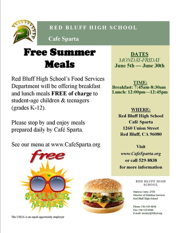 Cafe Sparta is offering free meals to children and teenagers grades K-12 this summer.