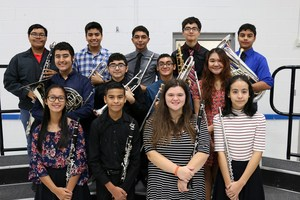 group picture of students who earned positions in a regional band