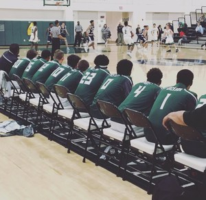 Tahquitz Boys' Basketball athletes sitting on the sidelines before the game.