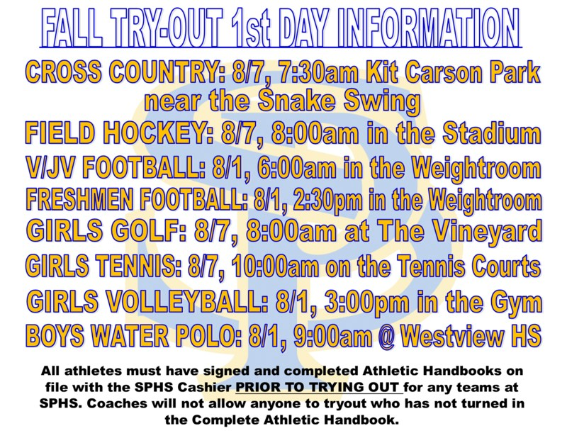 FALL SPORT TRY-OUT START DATES Thumbnail Image