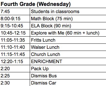 Image of 4th grade Enrichment schedule