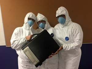 The CSI team in protective gear
