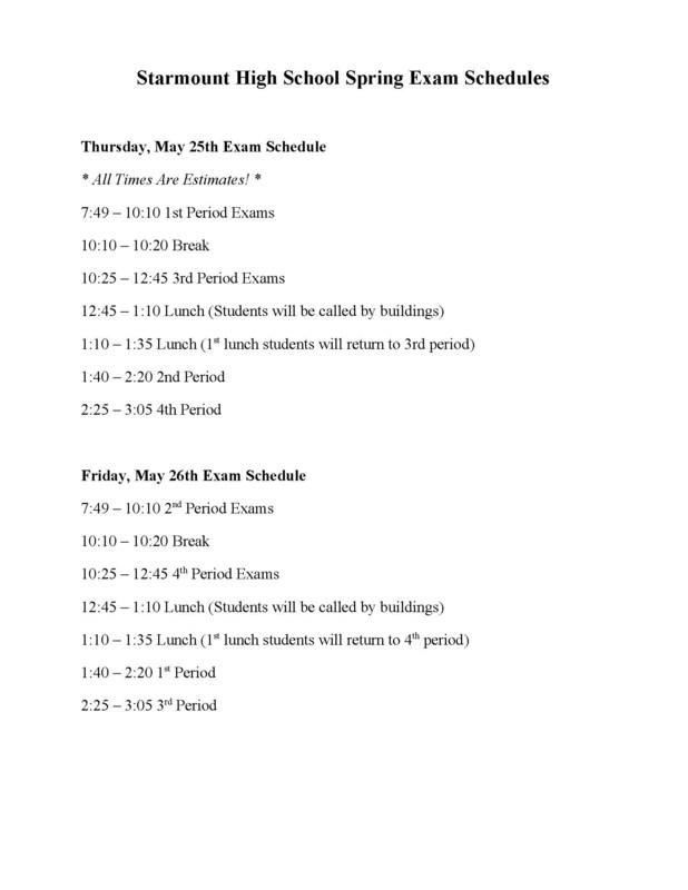 Spring Testing Schedule Thumbnail Image