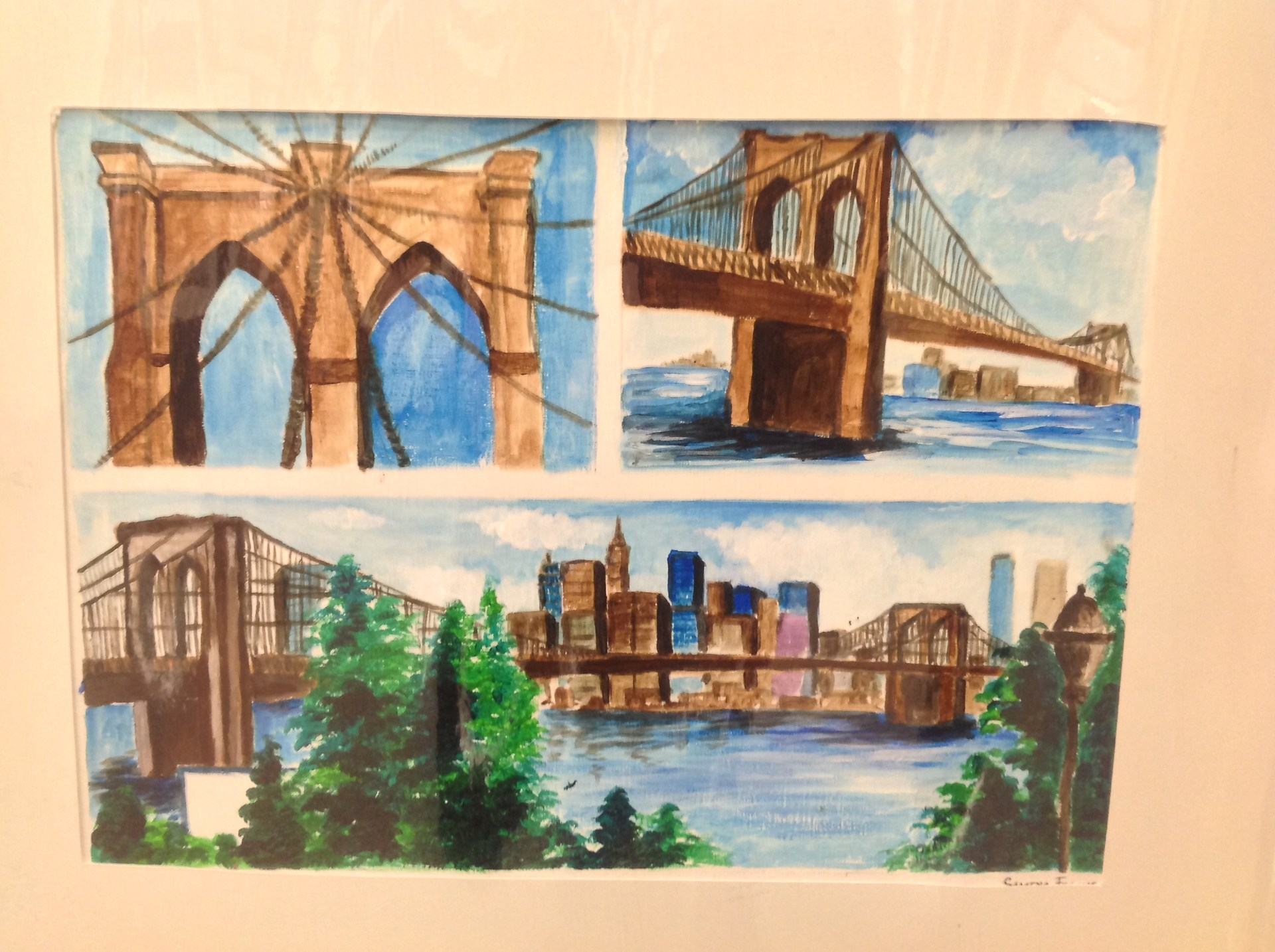 Three view painting of city in color.