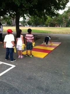 Students playing a game as part of physical education.
