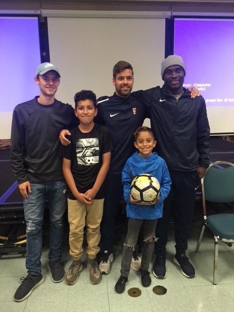 CSUF Men's Soccer players with Willmore students