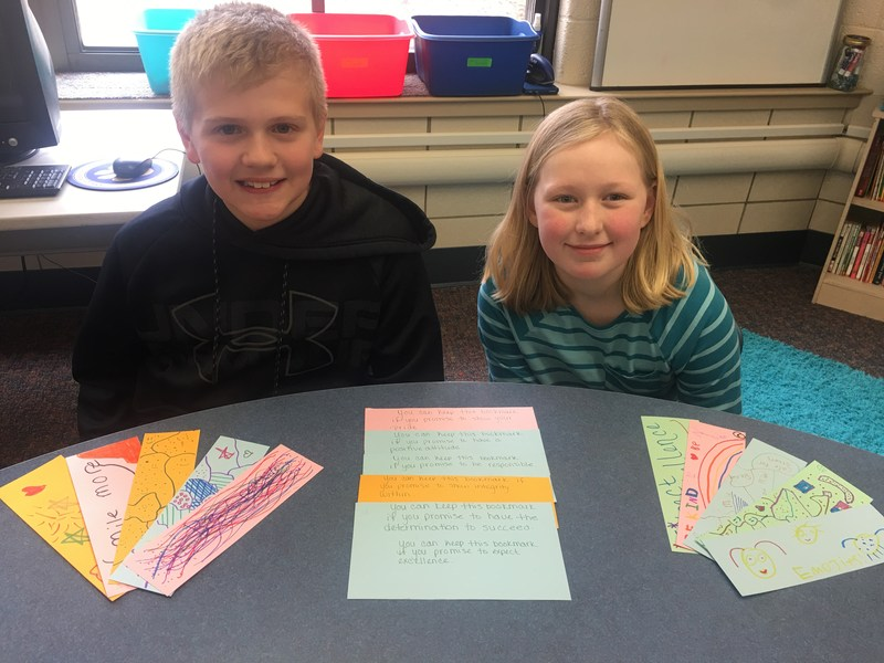 Colin and Abi with their bookmarks.