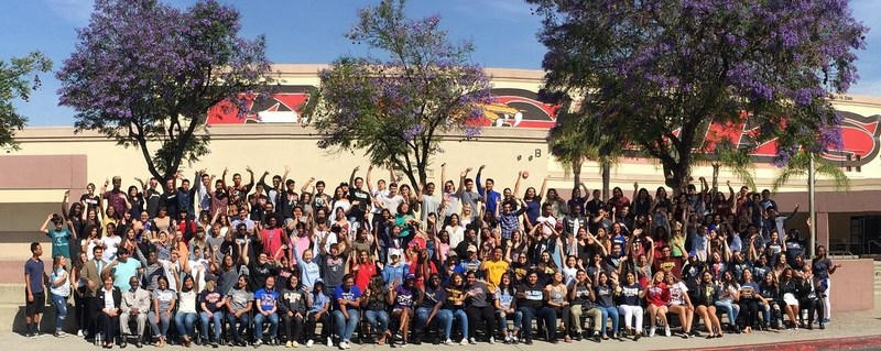 Valley View High School Student Gathered In Front Of The School