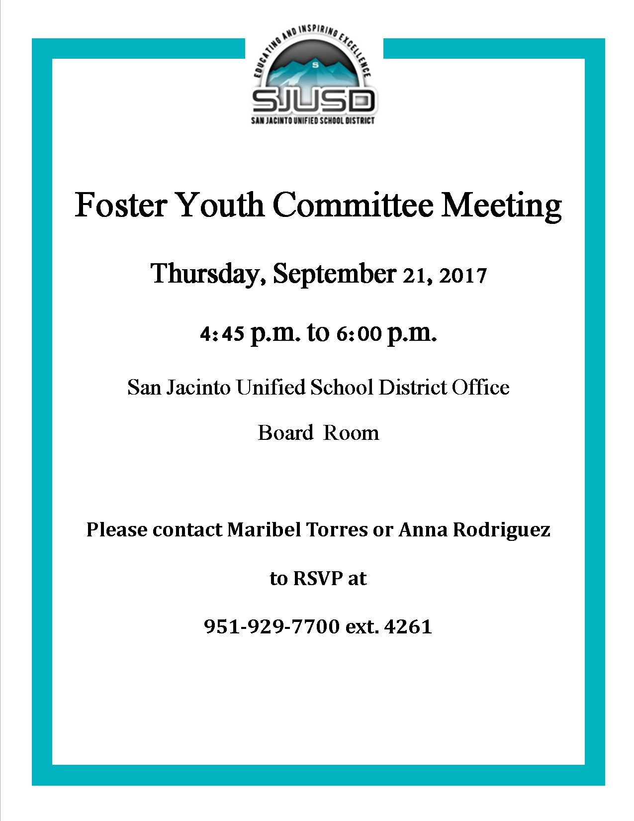 Foster Youth Meeting Notification September 21 at 4:45pm