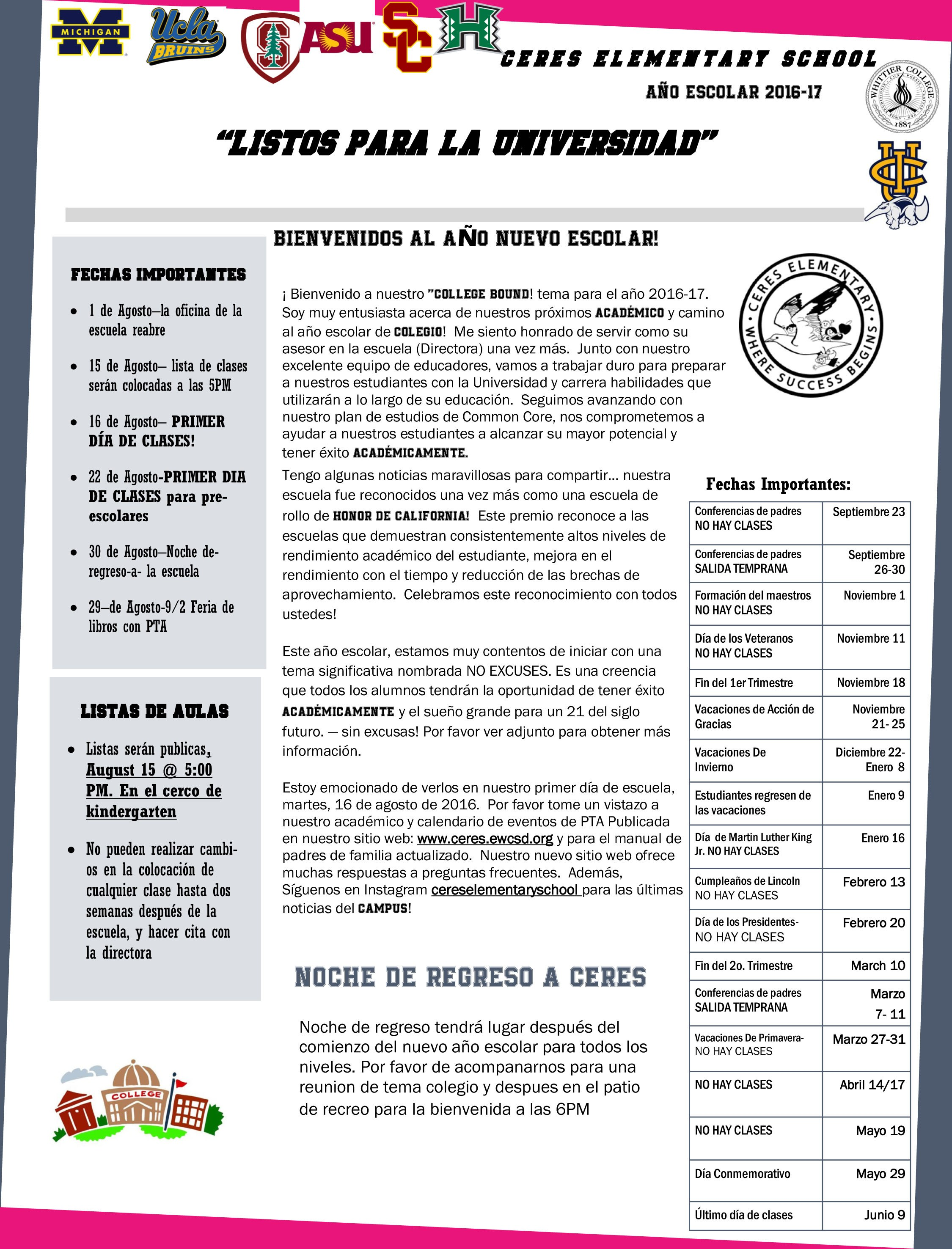 Page 1 of the principal's newsletter in Spanish