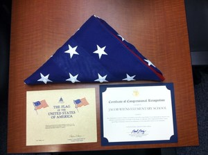 Congressional Award and American flag
