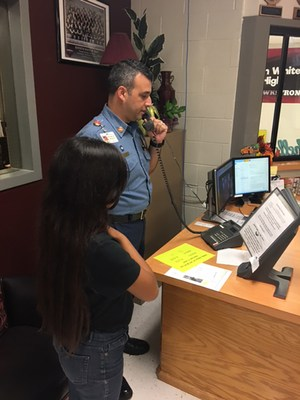 Robert Alvarez does morning announcements at K. White Jr. High