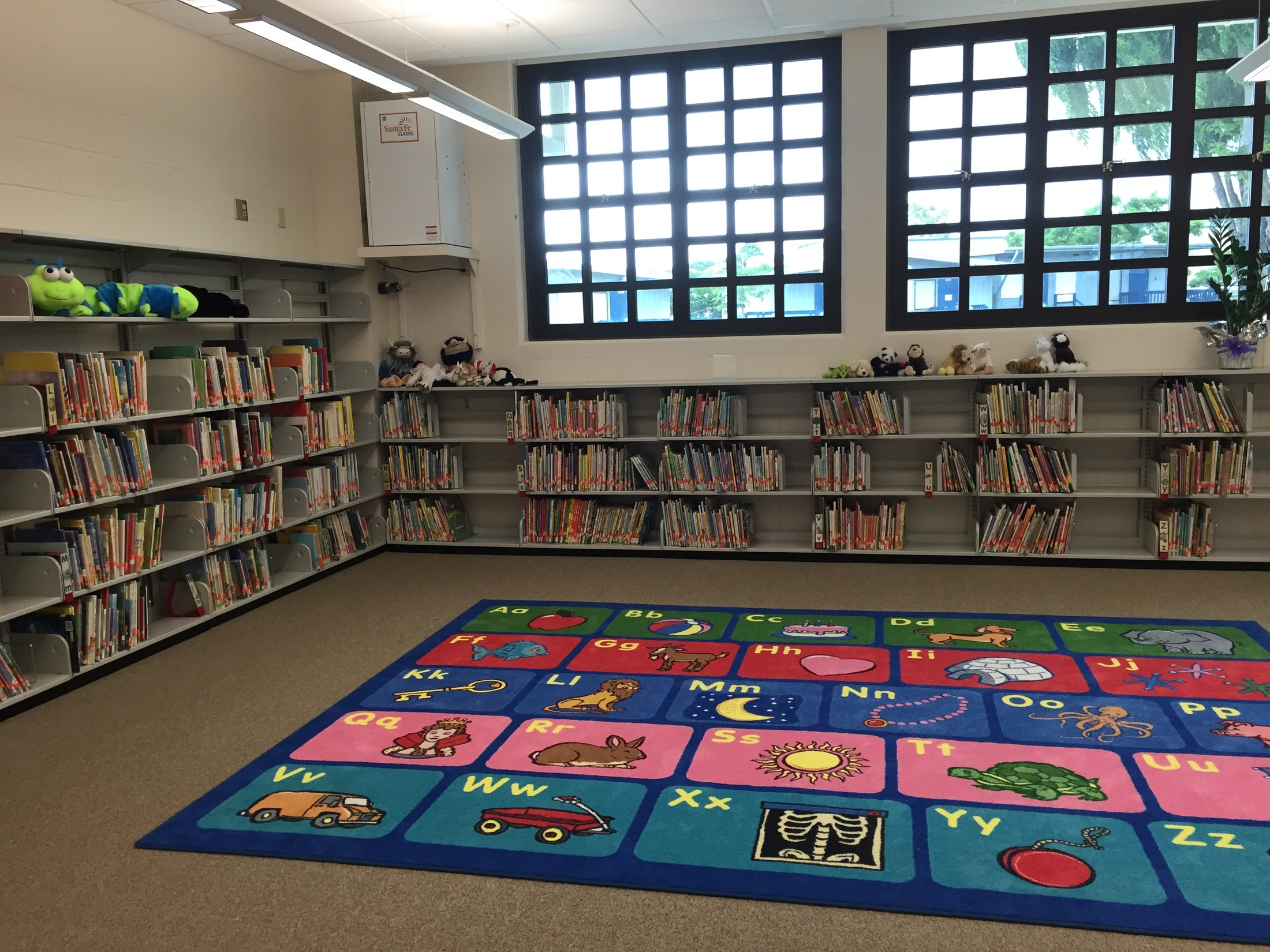 The easy picture books section in the library.