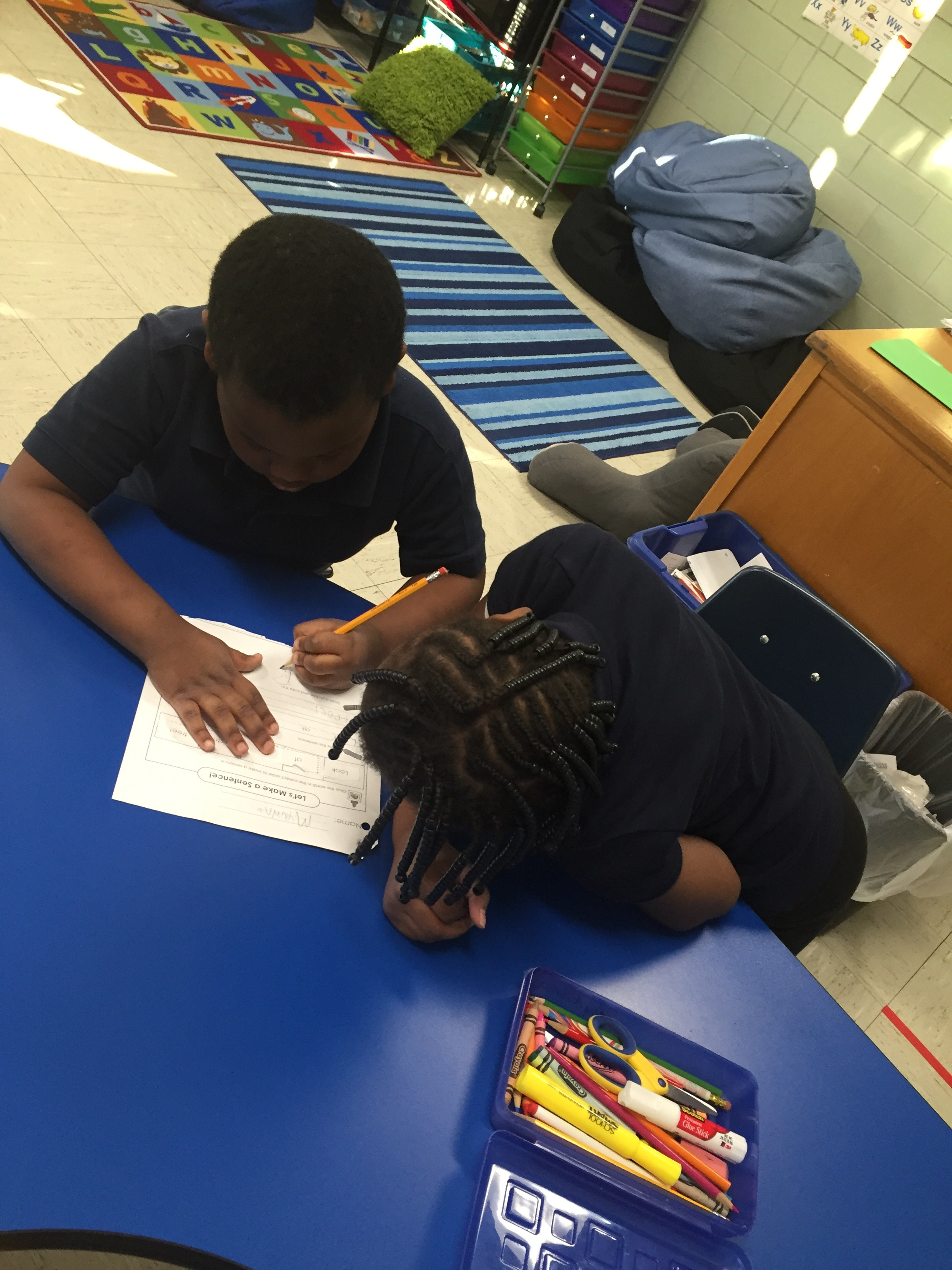 students working together on assignment