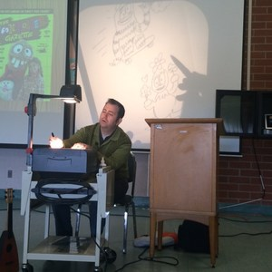 Author Parker Jacobs showing us how he draws