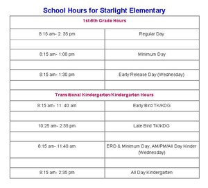 School Hours for Starlight Elementary