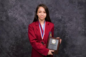 Pictured is Pilar Trevino which  took 2nd Place in Cosmetology.
