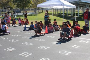 Students participating in a school wide fundraiser