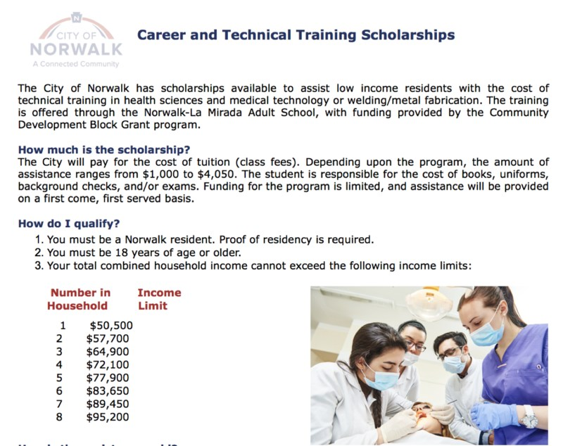Career and Technical Training Scholarships available through City of Norwalk! Featured Photo