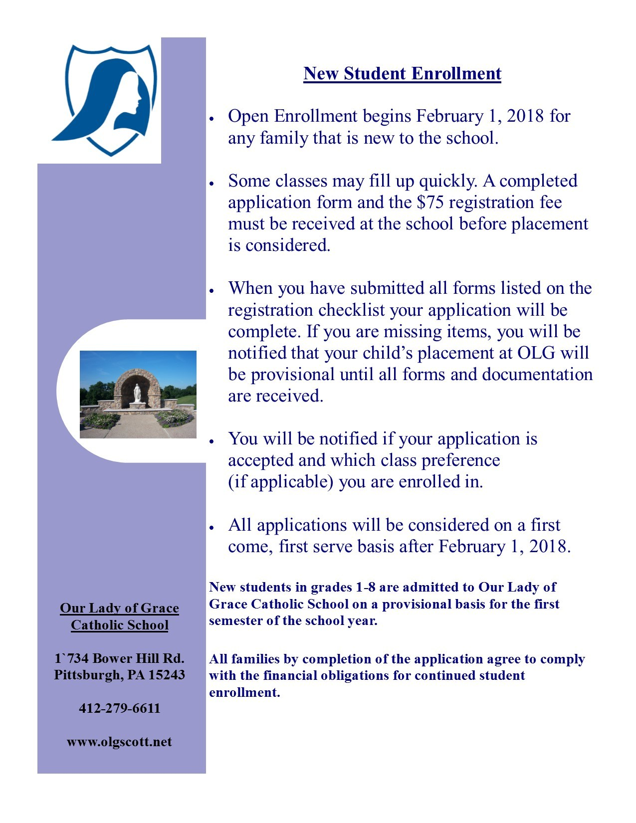 Learn More About Olg Admissions Our Lady Of Grace Catholic School
