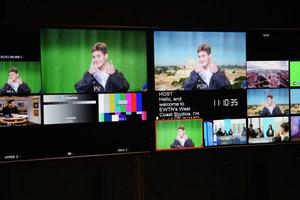 WOLF News : EWTN - Student on Set with Green Screen.JPG