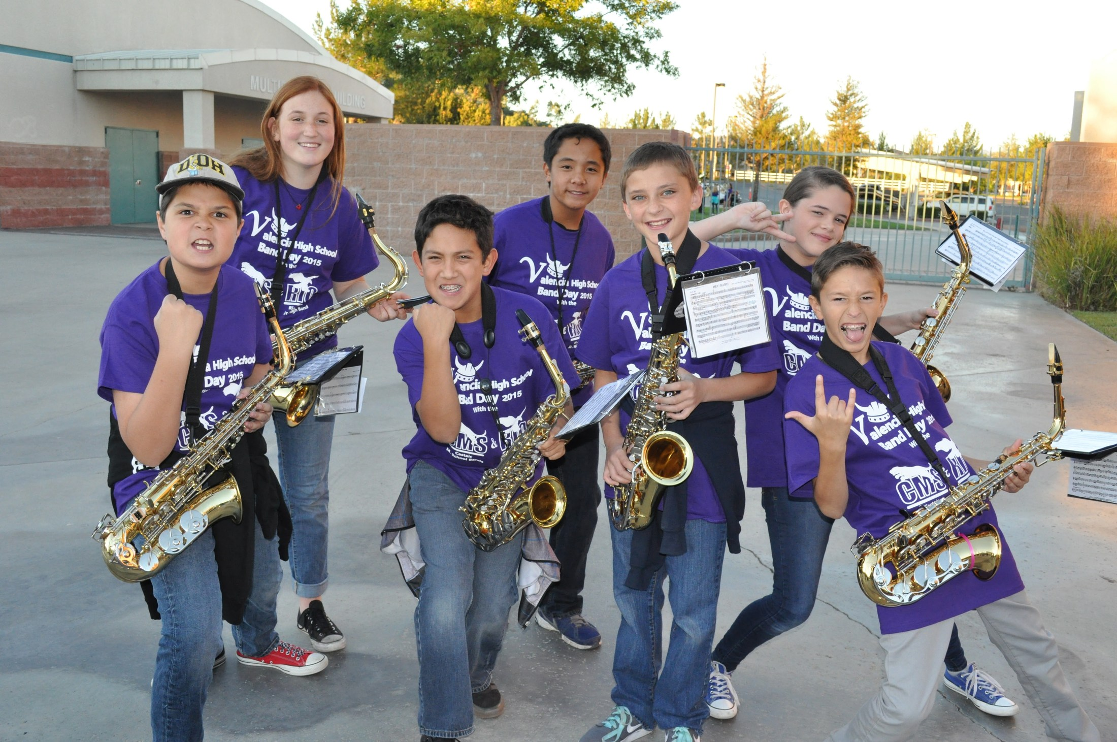 Band students posing for the camera.