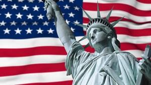 USA FLAG AND STATUE OF LIBERTY