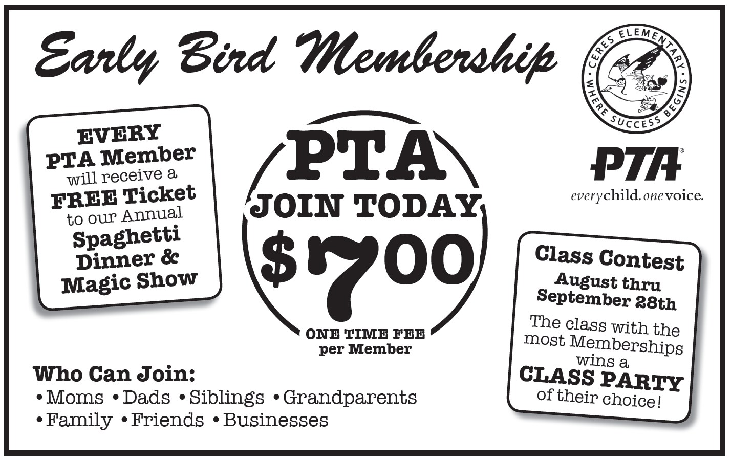 Early Bird PTA Membership flyer