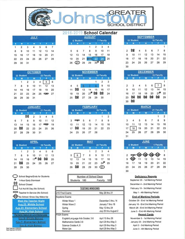 2018-19 School Calendar - Board approved on March 16th, 2018