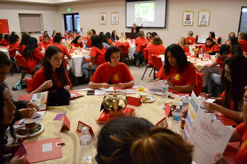 Students participating in activities at the Young Women's Conference