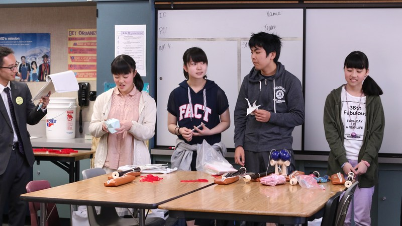 Marumori students presenting traditional Japanese games.