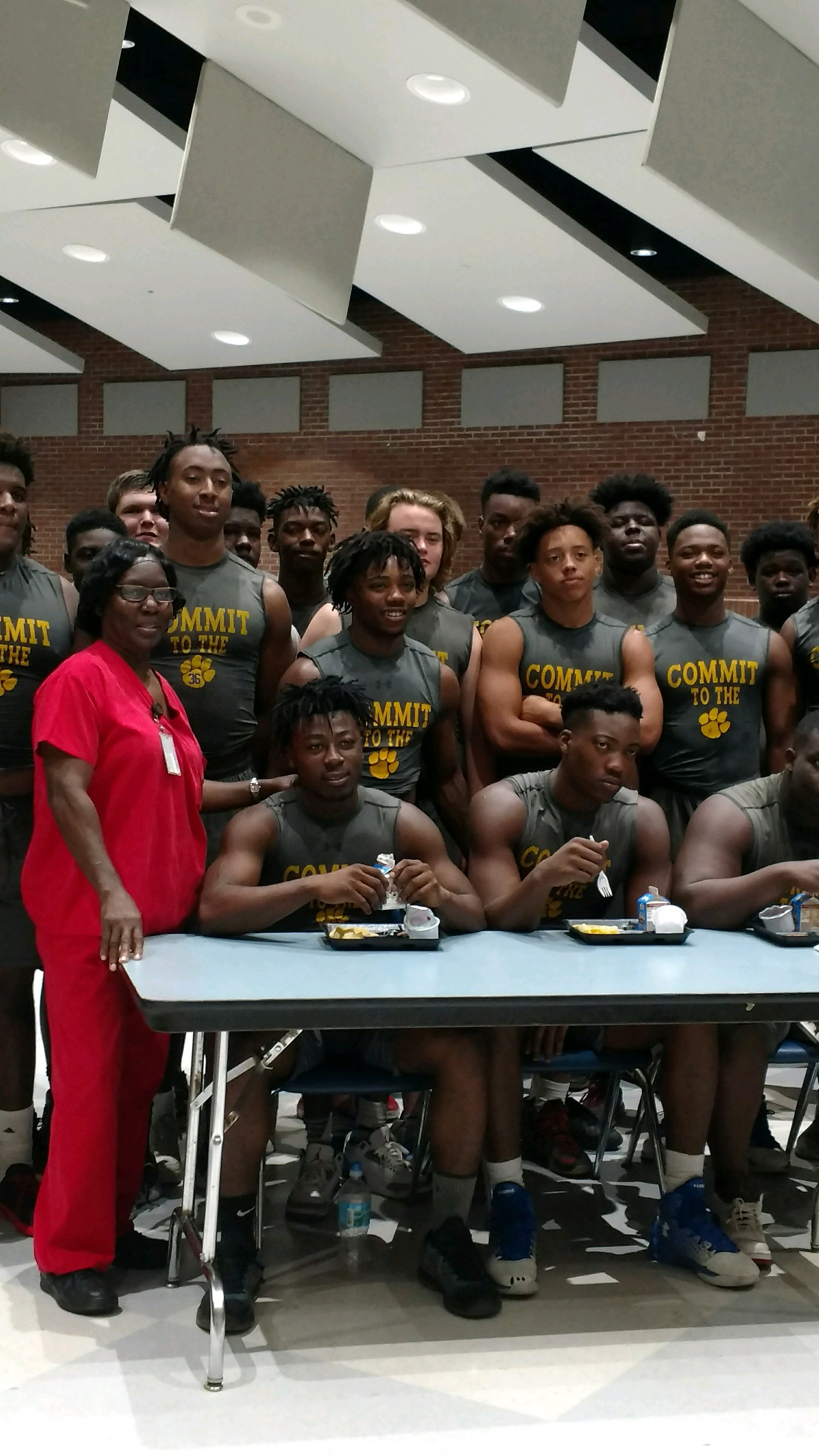 The high school football team eats breakfast and lunch with us all through the summer and during the school year