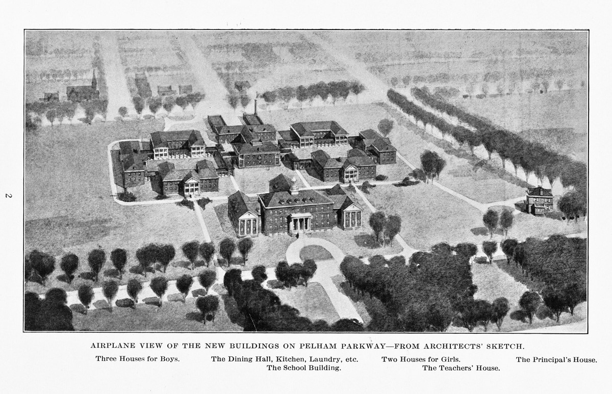 Airplane view of the campus from the architects' sketch