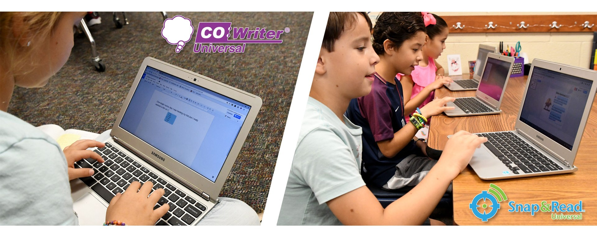Picture of a laptop with writing for Co Writer next to a picture of students sitting at desks with computers using curriculum access tools