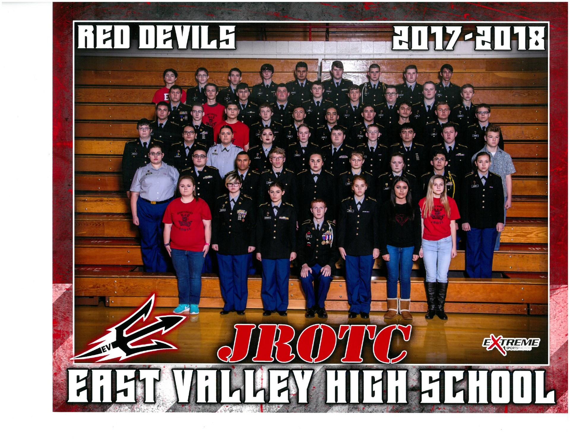 East Valley High School JROTC team for the 2017-2018 school year