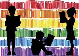 Kid silhouettes reading