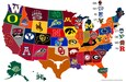 Map of college icons in the United States